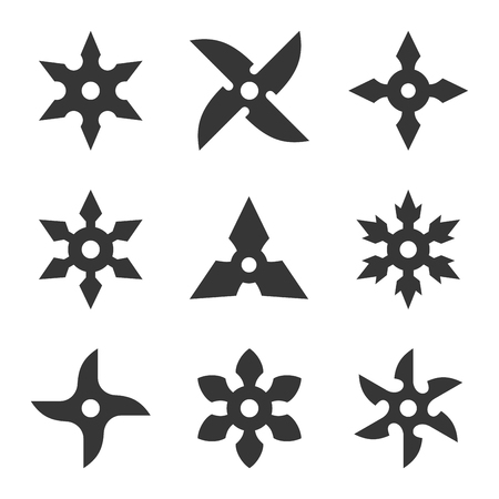 Ninja Star Icon Set on White Background. Vector Stok Fotoğraf - 75006224
