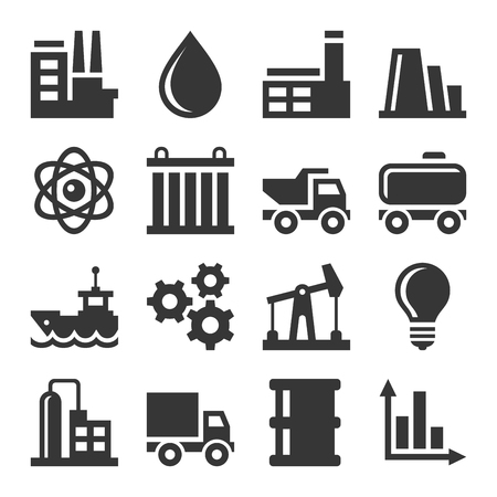 Industrie Pictogrammen instellen Stock Illustratie