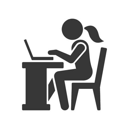 woman business suit: Pictogram Businesswoman Working on Computer. Vector