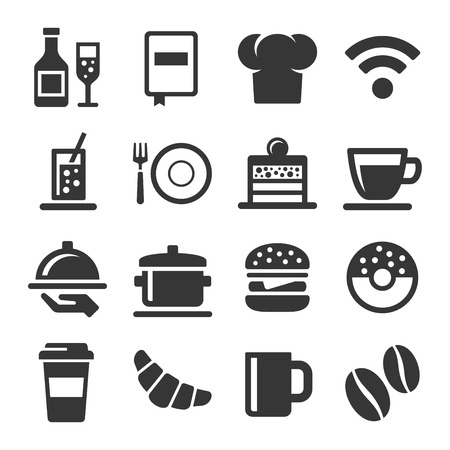 coffeecup: Cafe and Restaurant Icons Set on White Background. Vector Illustration