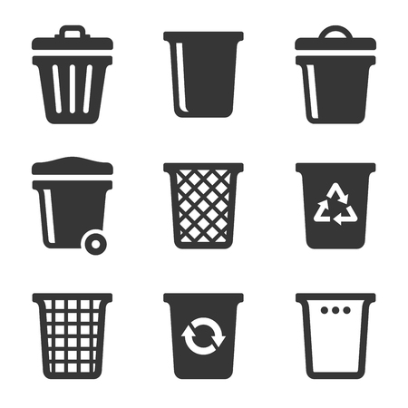 glob: Garbage Icons Set on White Background. Vector