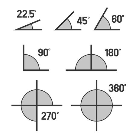 Iconos de los ángulos fijados en el fondo blanco. Vector