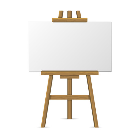 Wooden Easel with Blank Canvas on White Background. Vector