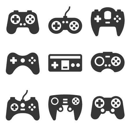 Gamepads Icon Set on White Background. Vector