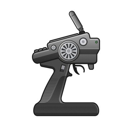 planos electricos: Icono del control de radio del coche de RC en el fondo blanco. vector Vectores