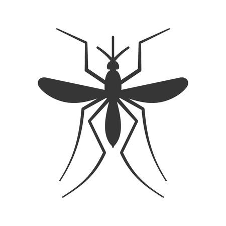 白い背景の上の蚊のアイコン。ベクトル
