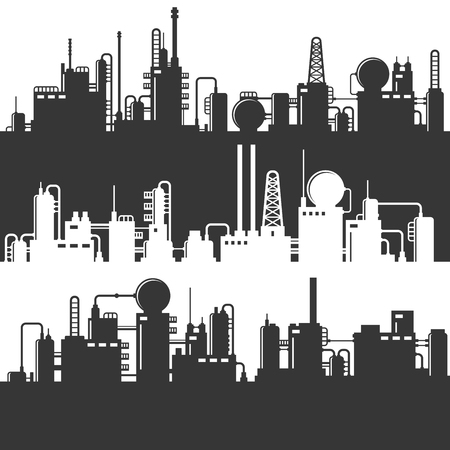 Oil and gas refinery power plant silhouette.
