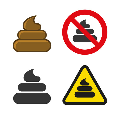 Poo Icon and Sign Set. Vector