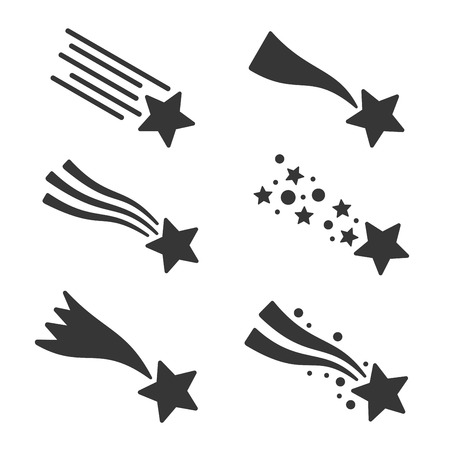 Shooting stars or comet icons set. Vector