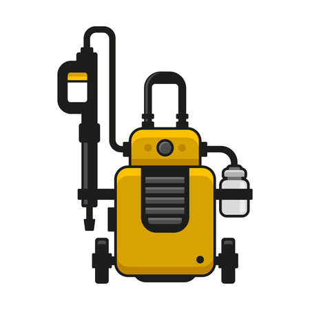 High Pressure Washer. Car Wash Machine. Vector