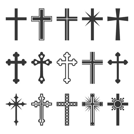Christian cross icons set vector illustration