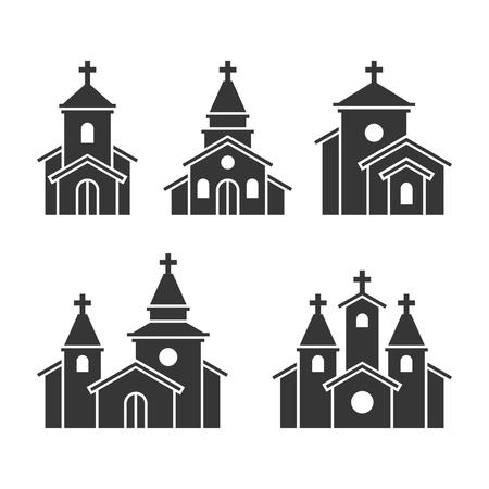 教会建物のアイコンは、背景白に設定します。ベクトル