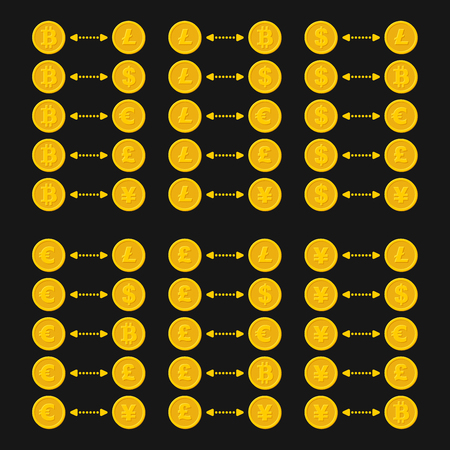 Bitcoin, Litecoin, Dollar, Euro and other Currency Exchange Sign with Arrows. Vector