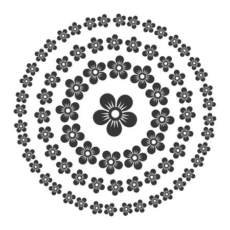 Floral Style Circle Oriental Pattern Set.
