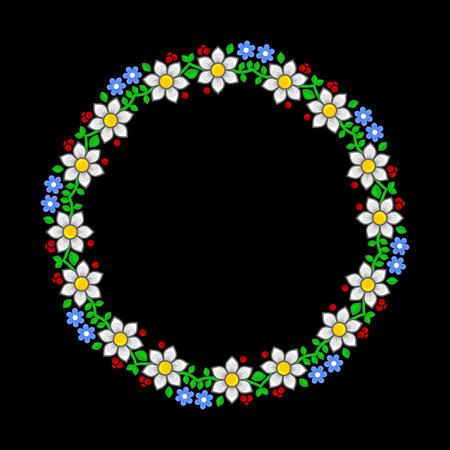 Floral circle pattern on dark background illustration.