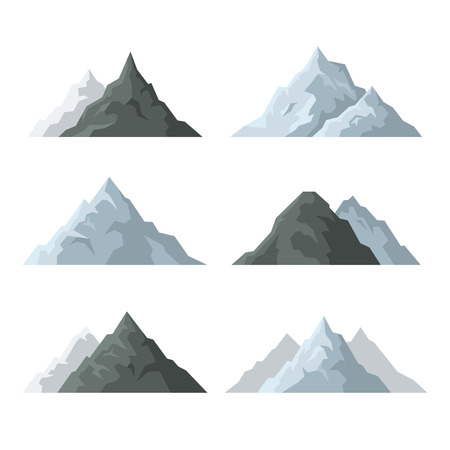 Mountain Icons Set on White Background.