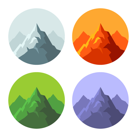Color Mountain Icons Set on White Background.