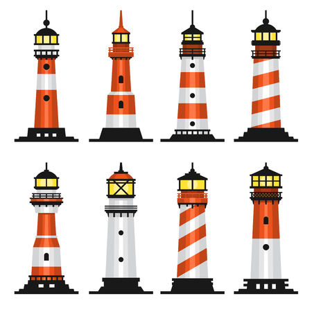 Lighthouse Set Flat Style vector illustration