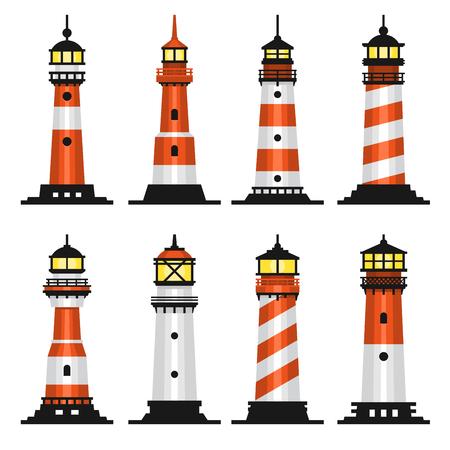 Lighthouse Set Flat Style vector illustration