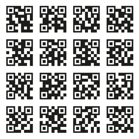 QR Codes Set. Example Icons on White Background. Vector Illustration
