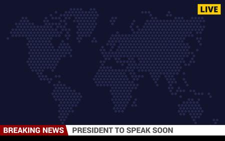 TV Breaking News Screen Background. Vector illustration