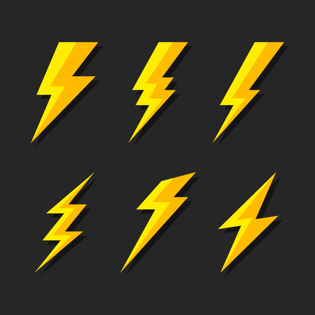 Thunder and Bolt Lighting Flash Icons Set. Flat Style on Dark Background. Vector Imagens - 93863565