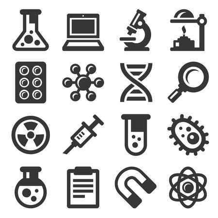 Icone di scienza messe su fondo bianco. Vettore