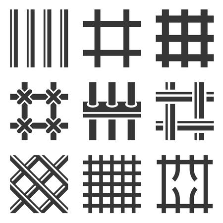 Prison Bars Icons Set on White Background. Vector Illustration Illustration