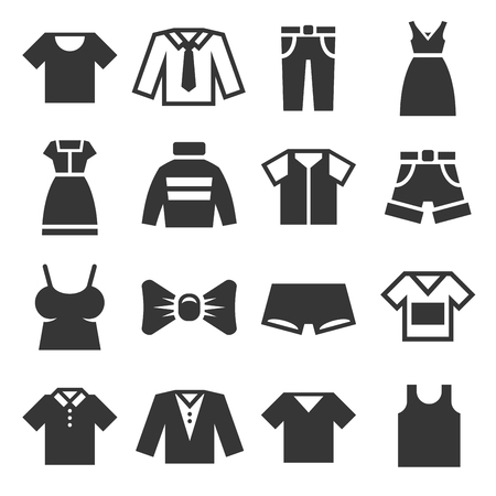 Clothing Icons Set on White Background. Vector illustration Vectores