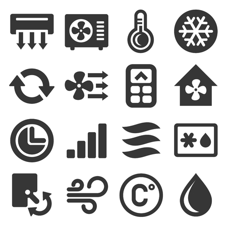 Air Conditioner Icons Set on White Background. Vector illustration Çizim