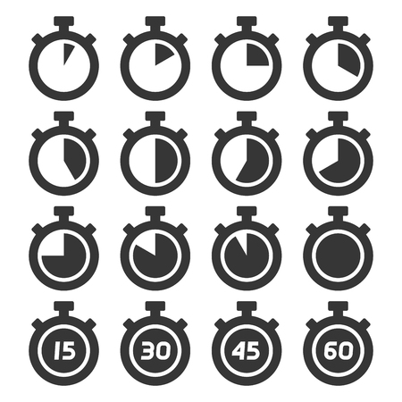 Stopwatch Icons Set on White Background. Vector illustration