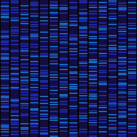 Blue Dna Sequence Results on Black Seamless Background. Vector Vettoriali