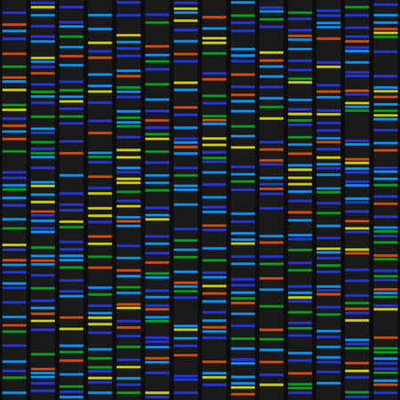 Color Dna Sequence Results on Black Seamless Background. Vector
