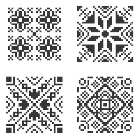 Pixel Ethnic Seamless Pattern Set. Vector