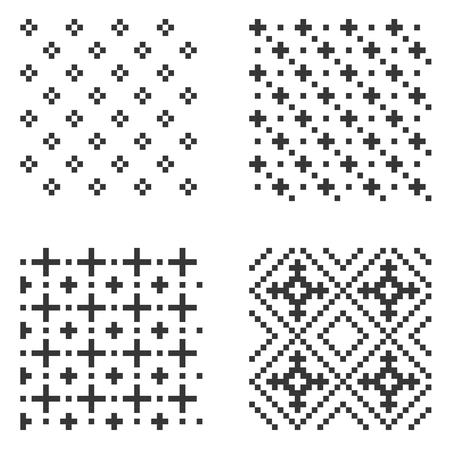 Pixel seamless pattern set on white background. Vector illustration.