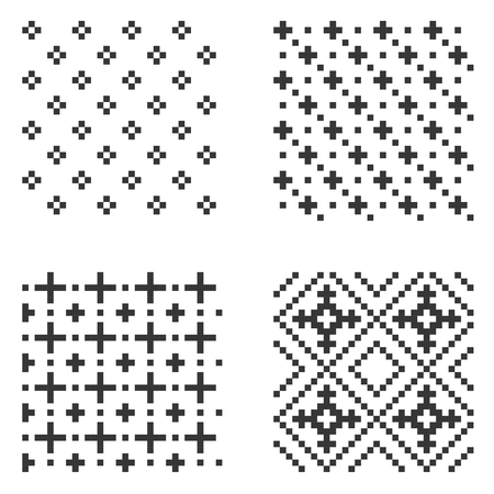 Pixel seamless pattern set on white background. Vector illustration.
