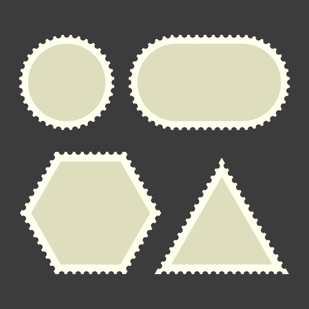 Blank Postage Stamps Set in various shapes on Dark Background. Vector Illustration