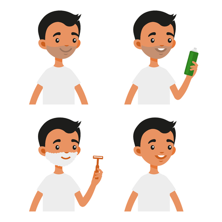 Cute Shaving Man with Foam Cream and Safety Razor Set. Flat Style Vector Illustration