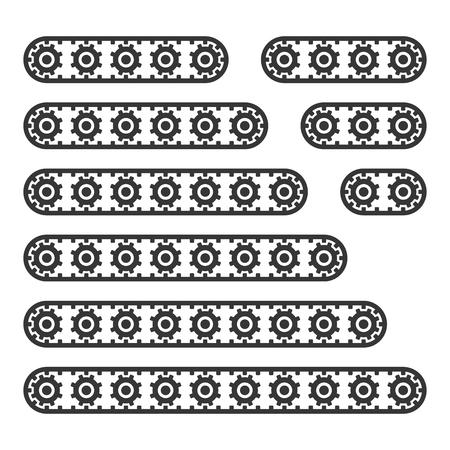 Linea di nastri trasportatori impostata su sfondo bianco. Vettore Vettoriali