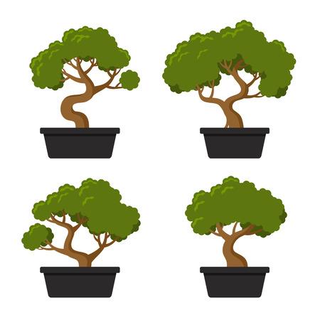 Bonsai Tree Icon Set on white Background. Vector
