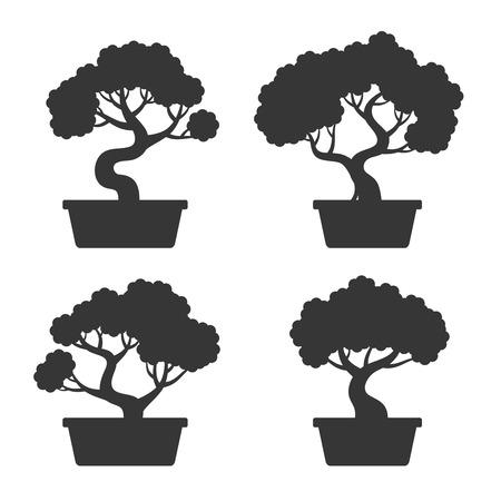 Bonsai Tree Silhouette Set Vectores