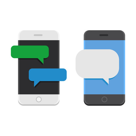 Mobile Phone with Chat Message Bubbles. Vector illustration Çizim