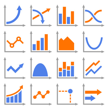Diagrams and Graphs Icons Set. Vector Illustration