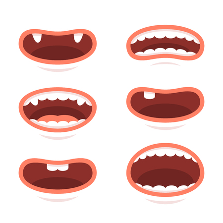 Cartoon Style Mouths Set on White Background. Vector