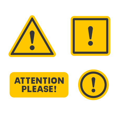 Attention Sign Set on White Background. Vector