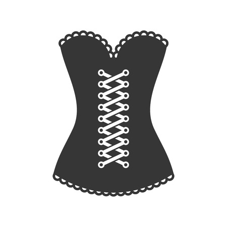 Women Black Corset Icon on White Background. Vector Illustration
