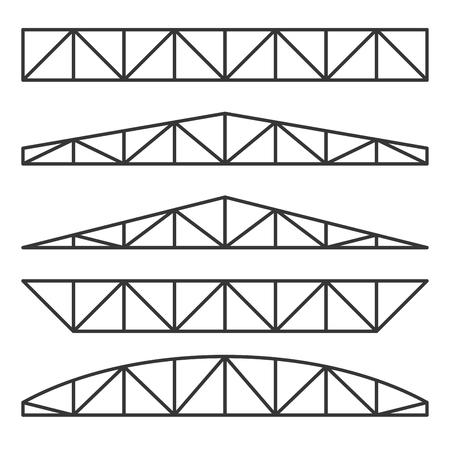 Metalen dakspanten constructies ingesteld op witte achtergrond. Vector
