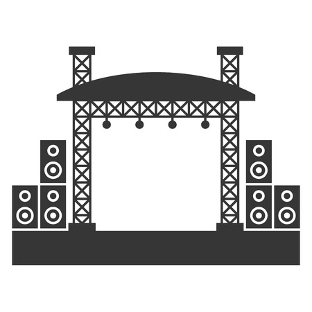 Outdoor Concert Stage Constructions with Sound System Icon. Vector