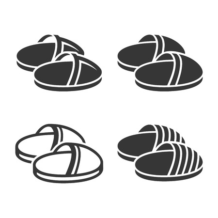 Home Slippers Icon Set on White Background. Vector