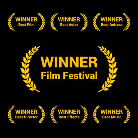Film Awards Gold Labels Set on black background. Vector Illustration